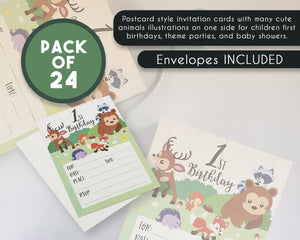 Woodland Invitation Cards - 24 Fill-in Invites with Envelopes for Baby's First Birthday Party, 5 x 7 Inches, Postcard Style
