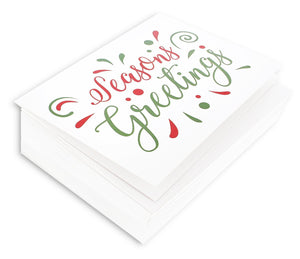 "48 Pack of Christmas Winter Holiday Family Greeting Cards - ""Season's Greetings"" Red Green Design - Boxed with 48 Count White Envelopes Included - 4.5 x 6.25 Inches"