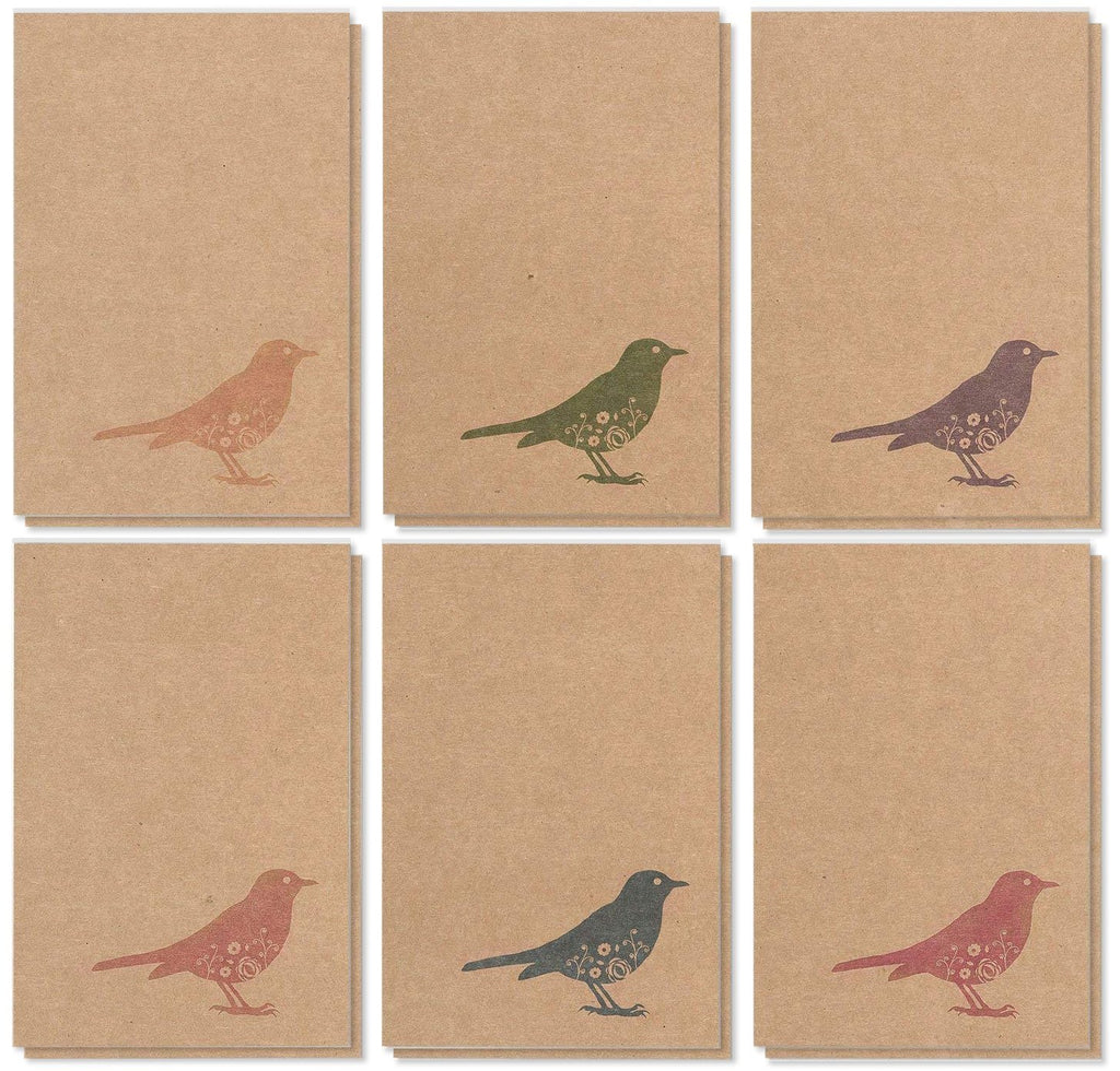 36 Pack All Occasions Assorted Blank Note Cards Greeting Cards Bulk Box Set - 6 Colorful Rustic Bird Designs - Blank on the Inside Notecards with Envelopes Included - 4 x 6 Inches