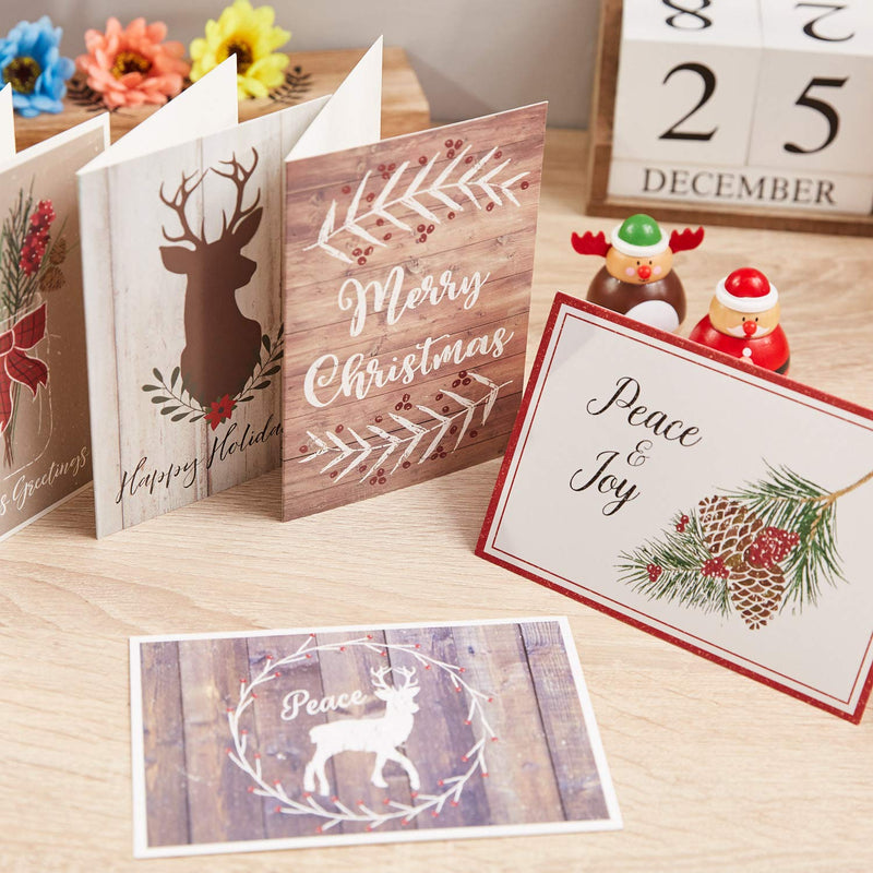 48-Pack Merry Christmas Holiday Greeting Card - Rustic Happy Holidays Xmas Cards in 6 Designs, Bulk Assorted Festive Winter Holiday Cards with Kraft Envelopes, 4 x 6 Inches