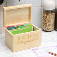 Wood Recipe Organization Box with Cards and Dividers