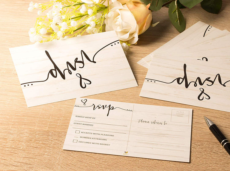 RSVP Cards - 60-Pack RSVP Postcards, Response Return Card for Wedding, Rehearsal Dinner, Baby Shower, Bridal Shower, Birthday Party Invitation, No Envelopes Needed, Rustic Wedding Themed, 4 x 6 Inches