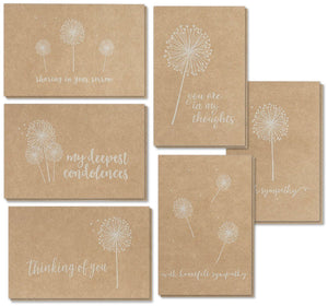Sympathy Cards - 36-Pack Sympathy Cards Bulk, Greeting Cards Sympathy Kraft Paper, 6 Floral Designs, Envelopes Included, Assorted Sympathy Cards, 4 x 6 Inches