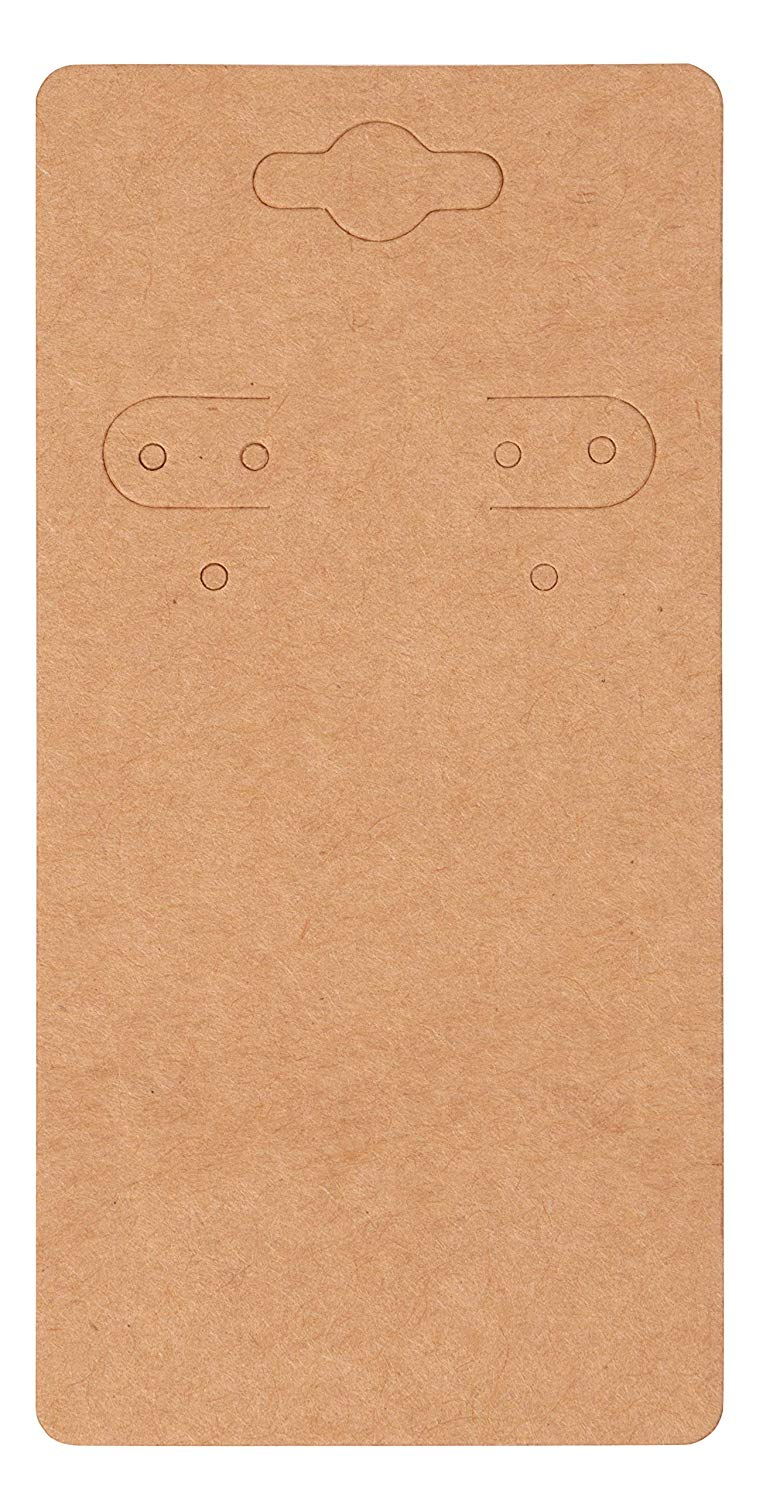 Genie Crafts 200-Pack Hanging Earring Jewelry Display Cards, Kraft Paper Cardstock, 2 x 4 Inches