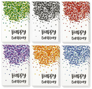 Best Paper Greetings Birthday Card - 48-Pack Birthday Cards Box Set, Happy Birthday Cards - Confetti Designs Birthday Card Bulk, Envelopes Included, 4 x 6 inches