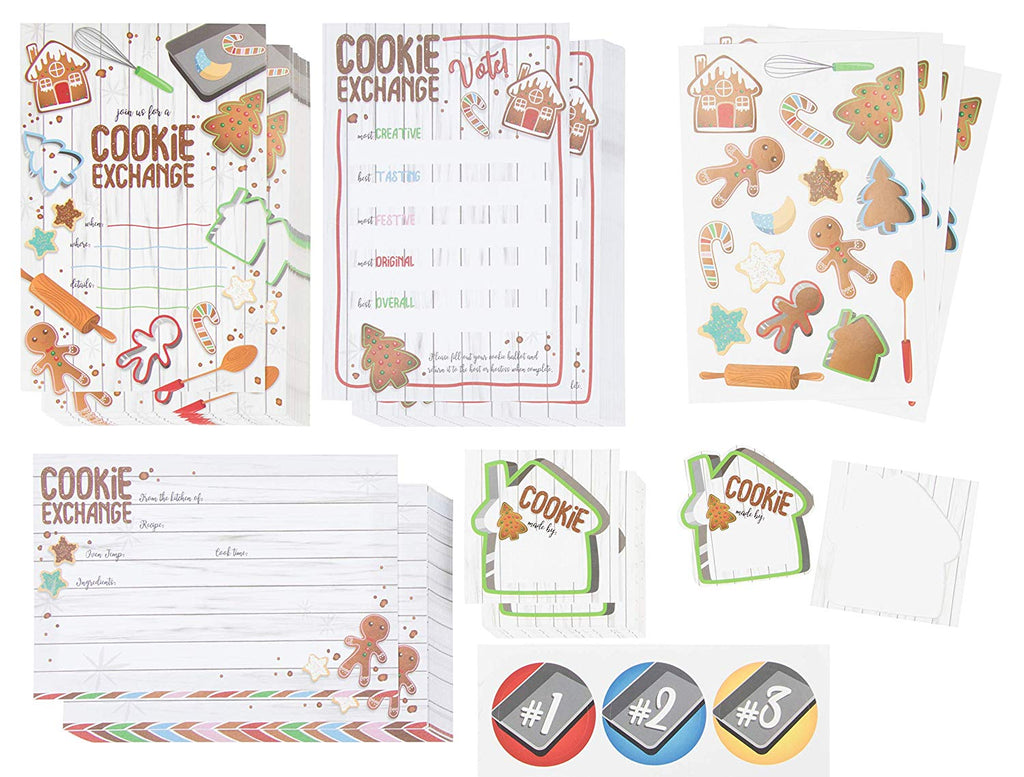 Christmas Cookie Exchange and Swap Party Kit - 24-Pack Holiday Party Invite Cards, Recipe Cards, Voting Ballots with Stickers for Xmas Party Event, Fill-In-Blank Postcard Style, 4 x 6 inches