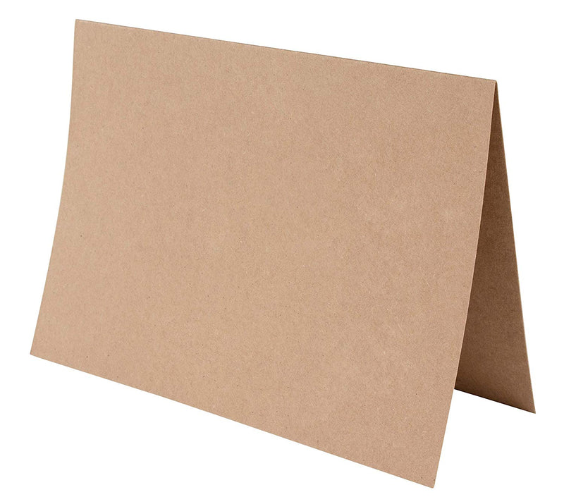 48-Pack Blank Greeting Cards - Plain Cardstock Folded Notecard, Standard Straight Corners, Envelopes Included for DIY, Party Invitation, Birthday, Wedding, Brown, 5 x 7 Inches, Laser Printer Friendly
