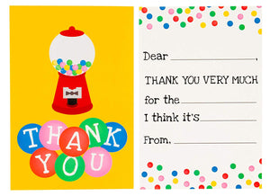 Kids Thank You Cards - 48-Count Fill in Thank You Notes, Bulk Thank You Cards Set, Vibrant Gumball Machine Design, Includes Thank You Cards and Envelopes, 4 x 6 Inches