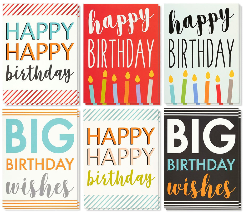 Large Birthday Cards Box Set – 12 Pack Jumbo Happy Birthday Cards, 6 Assorted Designs, Birthday Cards Bulk, Envelopes Included, 8.5 x 11 Inches