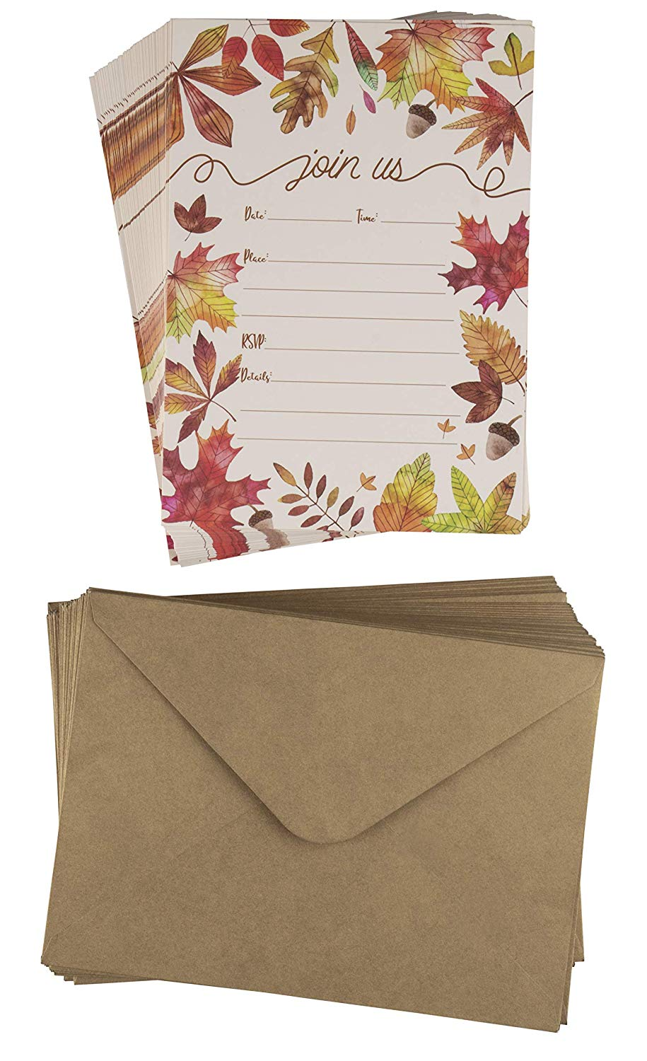 Fall Invitation Cards – 50-Pack Thanksgiving Dinner Party Invite Cards, Fill-in Invitations with Envelopes for Fall Themed Wedding, Baby Shower, Autumn Leaves Designs, 5 x 7 inches