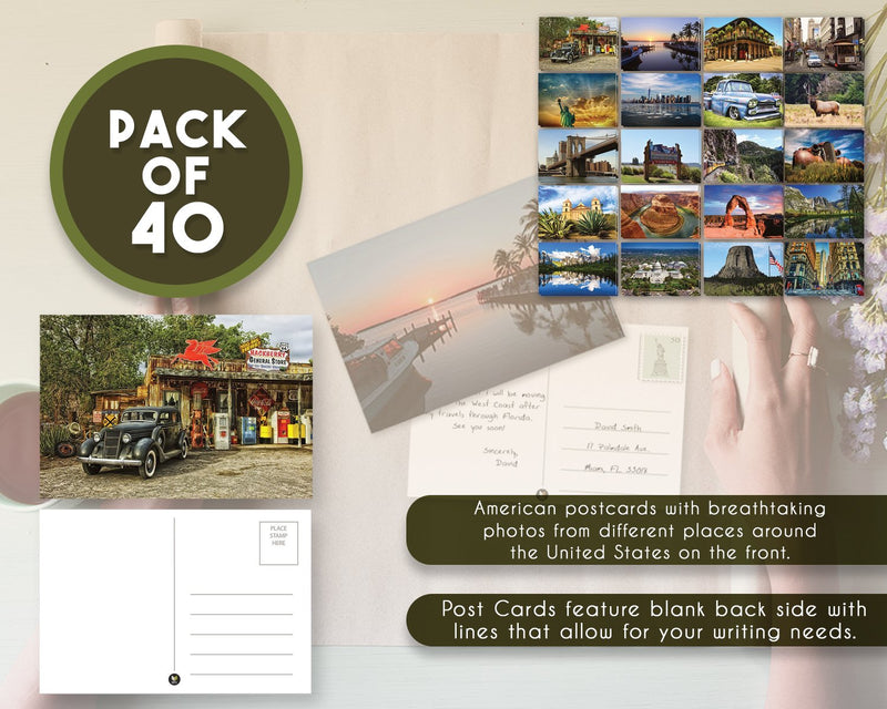 Set of 40 Postcards of America (20 Designs