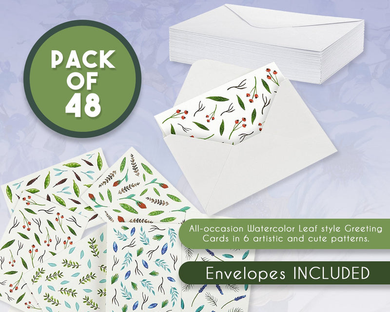 All Occasion Greeting Cards - Watercolor Nature Design - Beautiful Leaves Pattern - Includes 48 Cards and Envelopes - 4 x 6 Inches