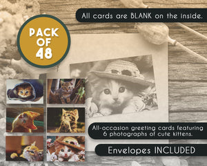 All Occasion Greeting Cards Box Set – 48-Pack Kittens Greeting Cards, 6 Cute Kitten Designs, Envelopes Included, 4 x 6 Inches