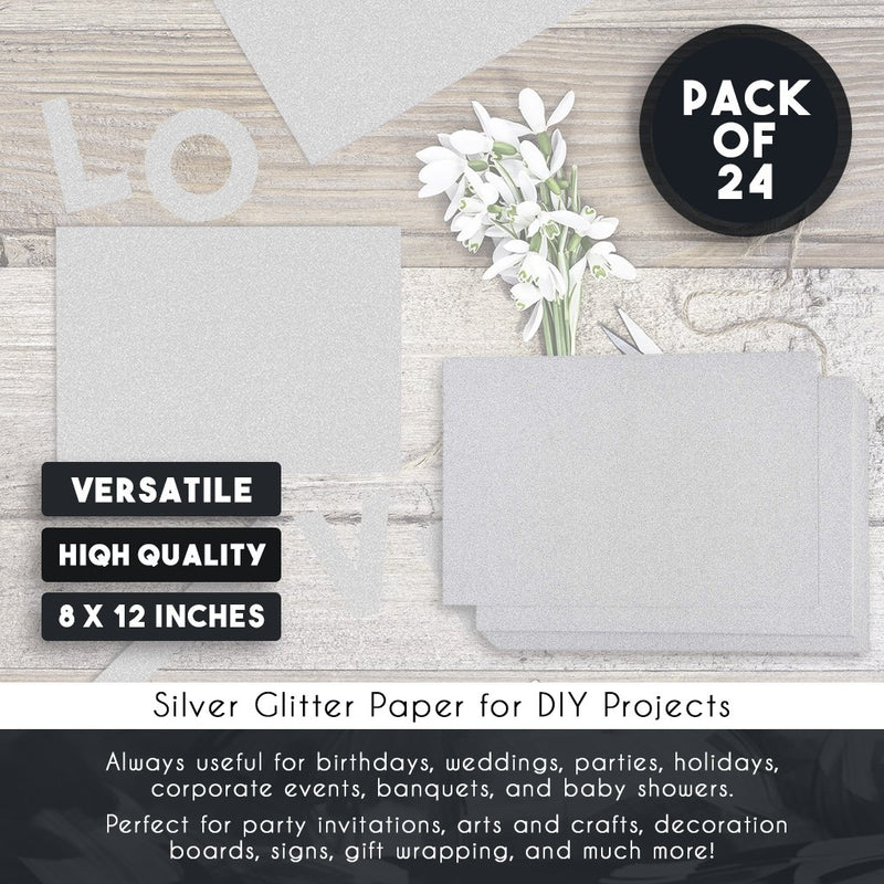 Glitter Cardstock Paper - 24-Pack Silver Glitter Paper for DIY Craft Projects, Birthday Party Decorations, Scrapbook, Double-Sided, 250GSM, 8 x 12 inches