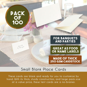 Best Paper Greetings Pack of 100 Place Cards - Small Tent Cards - Perfect for Weddings, Banquets, Events, 2 x 3.5 Inches