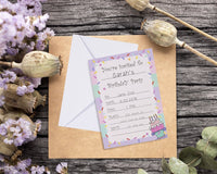 Invitation Cards – 24-Pack Birthday Party Invitation Cards, Fill-in Invitations with Envelopes, Confetti Designs, 5 x 7 Inches