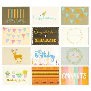 48 Pack Assorted All Occasion Greeting Cards - Includes Birthday, Wedding, Thank You Note Cards Assortment - Bulk Box Set Variety Pack with Envelopes Included - 48 Designs - 4 x 6 Inches