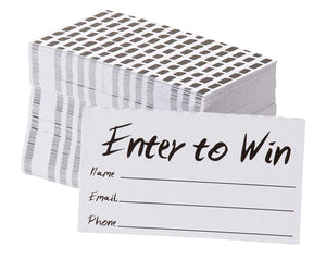 Enter to Win Cards – 200-Pack Entry Form Cards, Entry Cards for Contests, Raffles, Ballots, Drawings, White, 3.5 x 2 Inches