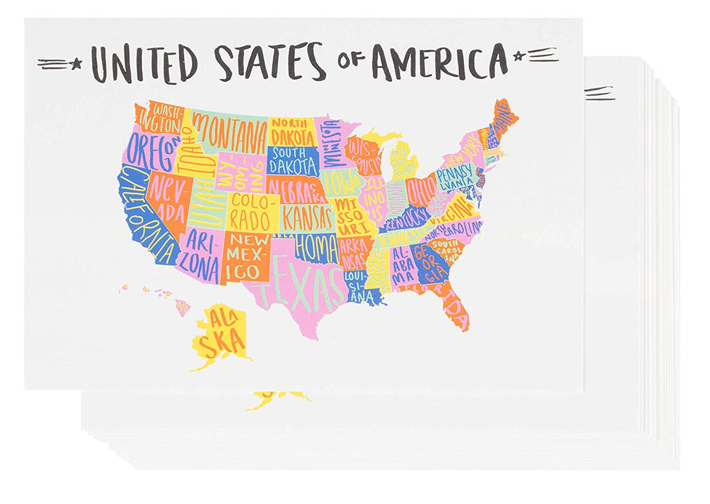 USA Postcards - 40-Pack U.S. Map Postcards, Self Mailer Mailing Side Travel Postcards, Hand-Drawn Artwork Design, United States Map Postcards with 50 States, 4 x 6 Inches