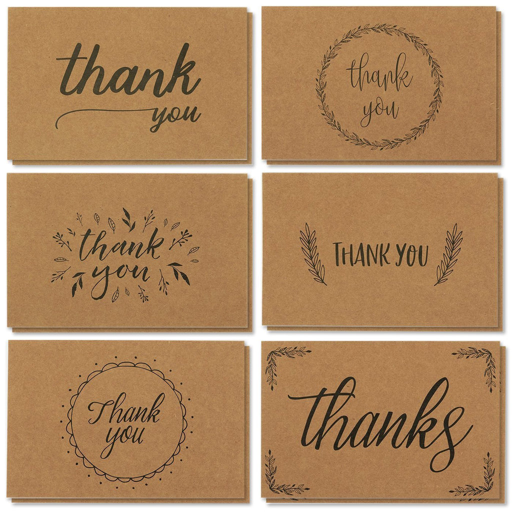 Thank You Cards - 36-Count Thank You Notes, Kraft Paper Bulk Thank You Cards Set - Blank on The Inside, Handwritten Style, Includes Thank You Cards and Envelopes, 4 x 6 Inches