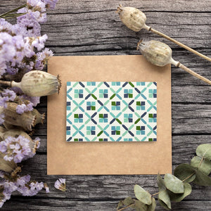 All Occasion Greeting Cards – 48-Pack Blank Note Cards with 6 Seamless Symmetrical Designs Blue Green, Bulk Box Set Variety Pack, 6 Circular Geometric Designs, Envelopes Included, 4 x 6 Inches