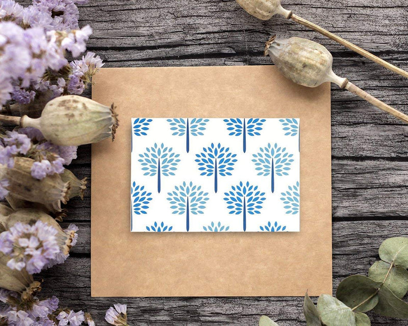 48 Pack All Occasion Assorted Blank Note Cards Greeting Card Bulk Box Set - Shades of Blue Floral Foliage Designs - Notecards with Envelopes Included 4 x 6 inches