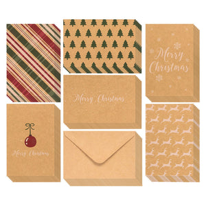 36-Pack Merry Christmas Greeting Cards Bulk Box Set - Winter Holiday Xmas Greeting Cards with Yuletide Elements, Envelopes Included, 4 x 6 Inches
