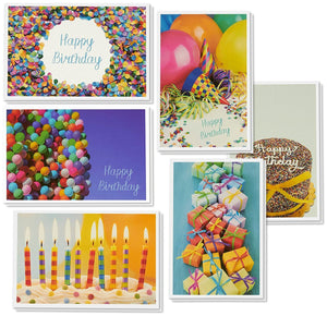 Birthday Card - 48-Pack Birthday Cards Box Set, Happy Birthday Cards - 6 Birthday Party Elements Designs Birthday Card Bulk, Envelopes Included, 4 x 6 Inches