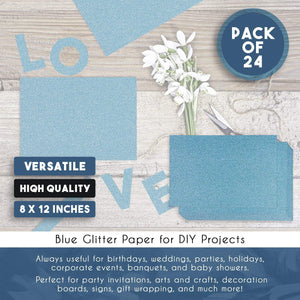 Glitter Cardstock Paper - 24-Pack Blue Glitter Paper for DIY Craft Projects, Birthday Party Decorations, Scrapbook, Double-Sided, 250GSM, 8 x 12 inches