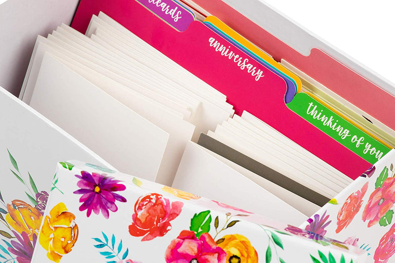 Deluxe Card Organizer with 12 Dividers, 20 Notecards, 20 Envelopes, Greeting Birthday Holiday Card Organizer Box, Decorative Card Storage, 9.6 x 6 x 7.5 Inches