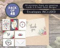 Thank You Cards - 48-Count Thank You Notes, Bulk Thank You Cards Set - Blank on the Inside, 6 Floral Designs - Includes Thank You Cards and Envelopes, 4 x 6 Inches