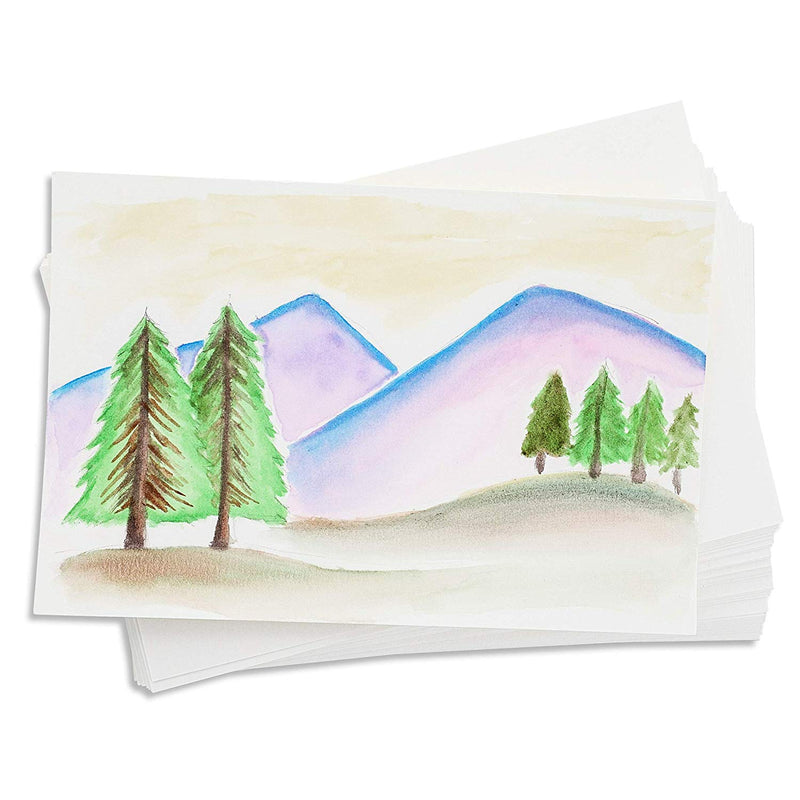 Paper Junkie 50-Pack Blank Mailable DIY Watercolor Painting Paper Postcards, 4 x 6 Inches, White
