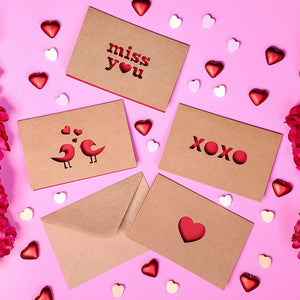 12-Pack Romantic Kraft Love Greeting Cards in 6 Assorted Die Cut Designs for Anniversaries, Envelopes Included, 4 x 6 Inches