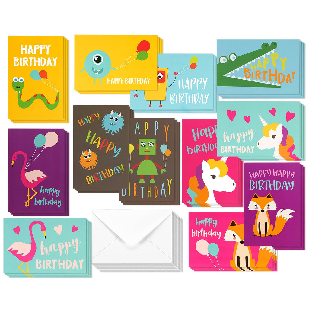 48 Pack Children Birthday Cards Unicorn, Flamingo, and Monster Designs Happy Birthday Greeting Cards Assortment for Kids Variety Pack - Bulk Box Set with Envelopes Included - 4 x 6 Inches