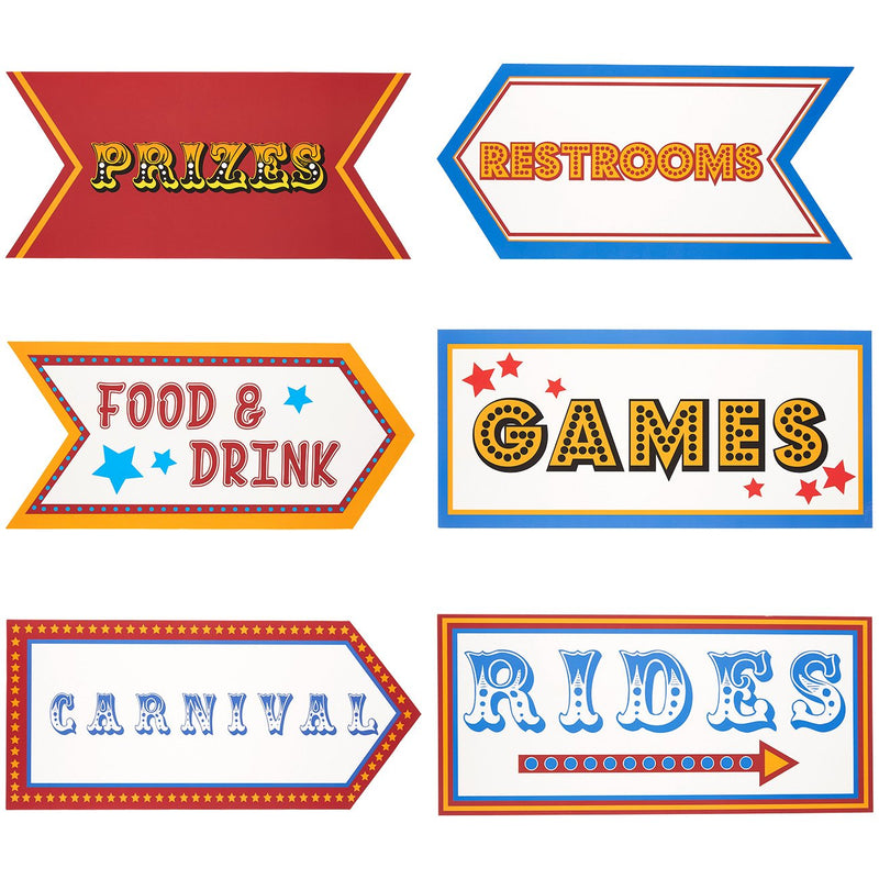 Carnival Party Supplies - 6-Pack Word Cutouts Signs for Theme Party Decorations, Kids Birthday Party Favors on 350 GSM Cardstock Paper, 17.5 x 8 Inches