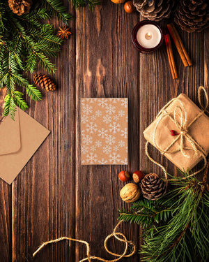 36-Pack Merry Christmas Greeting Cards Bulk Box Set - Winter Holiday Xmas Kraft Greeting Cards with White Print Designs, Envelopes Included, 4 x 6 Inches