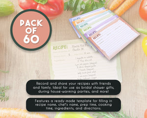 Recipe Cards - 60-Pack Blank Recipe Cards, Double-Sided, Watercolor Design,