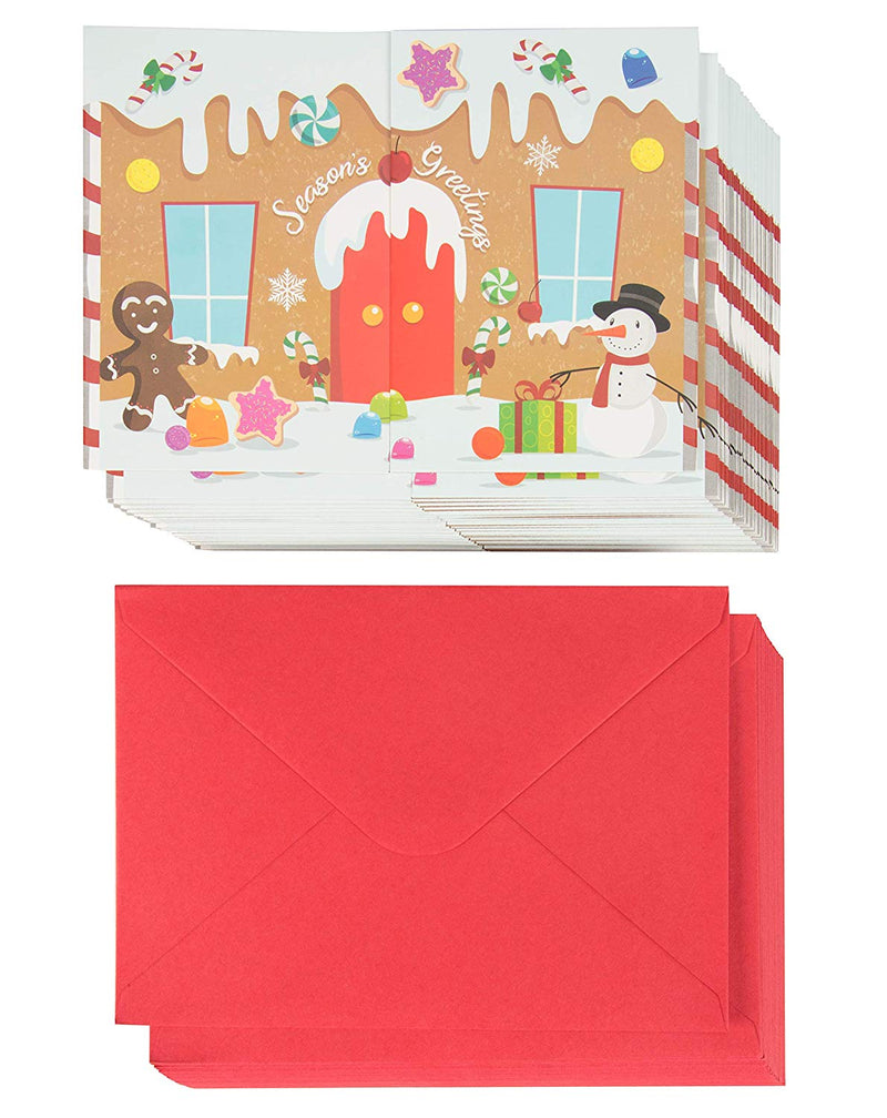 36-Pack Merry Christmas Holiday Greeting Card - Happy Holidays Xmas Cards in Gingerbread House Design, Bulk Assorted Festive Winter Holiday Cards with Envelopes, Tri-Fold Cards, 5 x 7 Inches