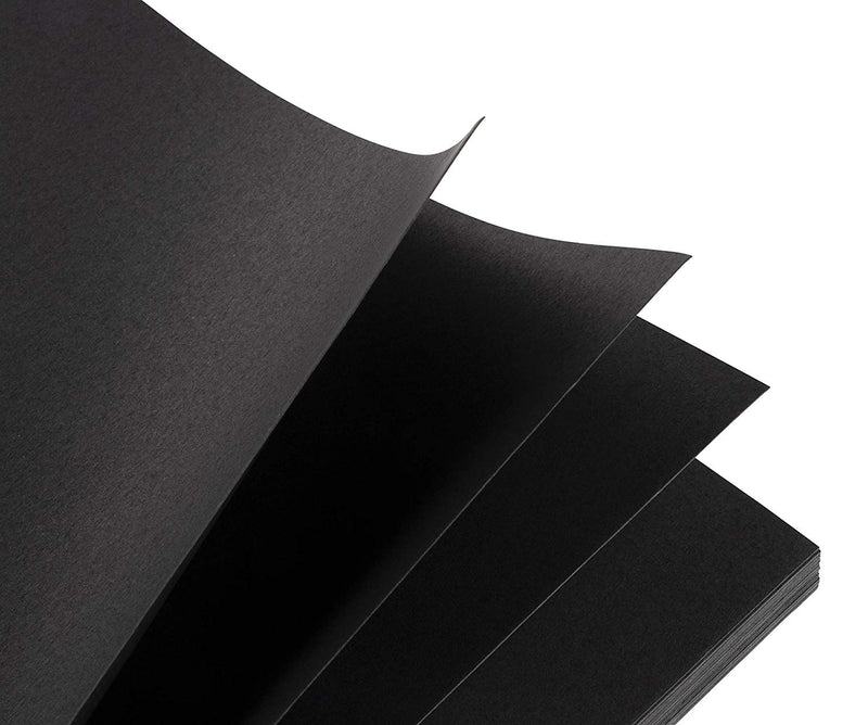 Black Cardstock - 50-Pack Letter Sized Heavyweight Stationery Paper, Printable 215GSM 80lb Cover Cardstock, Perfect for Business Cards, Menus, Invitations, Arts, Crafts, Office Use, 8.5 x 11 Inches