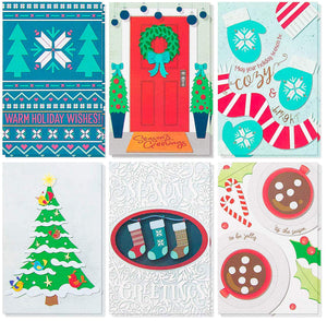 48-Pack Christmas Card Bulk Box Set – Holiday Greeting Cards in 6 Cozy Christmas Season's Greetings Designs with Kraft Envelopes, 4 x 6 Inches