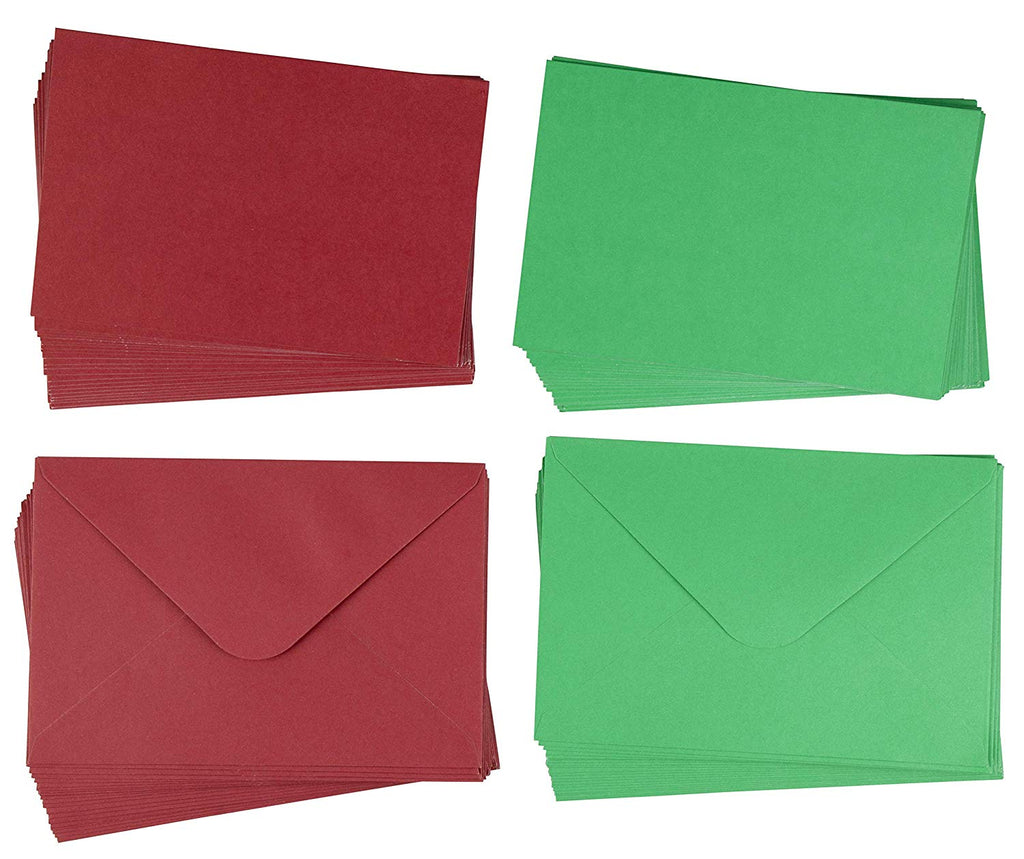 48-Pack Blank Greeting Cards - Plain Cards and Matching Color Envelopes for DIY Christmas Holiday Cards, Thank You Cards, Party Invitation, Birthday, Wedding, Red and Green, 4 x 6 Inches