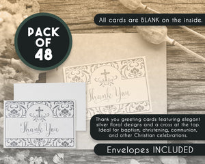 Thank You Cards - 48-Pack Thank You Notes, Postcard Style Religious Floral and Cross Design, Bulk Thank You Cards and Envelopes, Single-Sided, Silver, 4 x 6 Inches