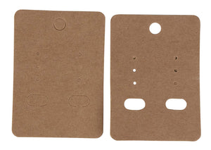 Earring Cards - 200-Pack Hanging Earring Card Holder, Kraft Paper Jewelry Display Cards for Earrings, Ear Studs, Brown, 2 x 2.75 Inches