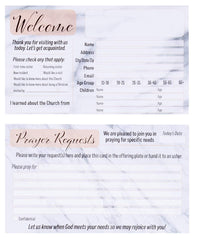 Prayer Request and Church Visitor Card Set - 100-Pack Prayer Cards with Fill-In Blank Postcard Style, Double-Sided, Marble Design,