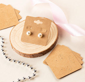 Earring Cards - 200-Pack Hanging Earring Card Holder, Kraft Paper Jewelry Display Cards for Earrings, Ear Studs, Brown, 2 x 2 Inches