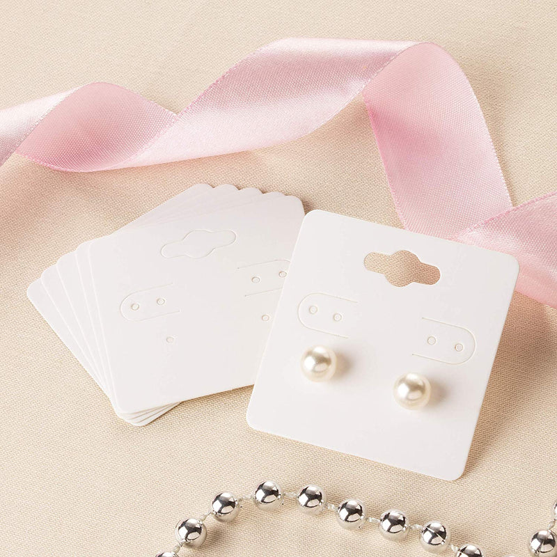 Earring Cards - 200-Pack Hanging Earring Card Holder, Paper Jewelry Display Cards for Earrings, Ear Studs, White, 2 x 2 Inches
