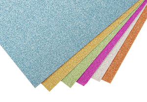 Glitter Cardstock Paper - 24-Pack Multicolored Glitter Paper for DIY Craft Projects, Birthday Party Decorations, Scrapbook, 6 Colors, Double-Sided, 250GSM, 8 x 12 inches