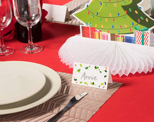 Christmas Table Place Cards - 50-Pack Kraft Paper Tent Cards with Reindeer Antlers Die Cut Design,