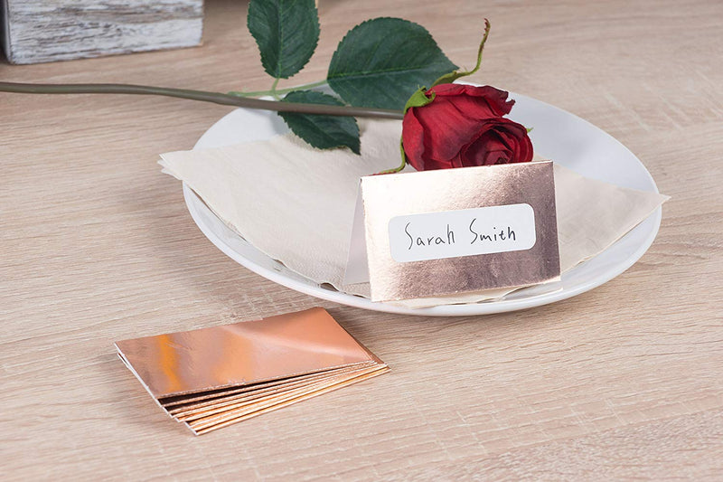 Rose Gold Table Place Cards - 100 Piece Gold Foil Tent Cards, Table Decorations and Party Supplies for Romantic Wedding, Banquets, Bridal Shower, Celebrations and Events, 2 x 3.5 Inches, White