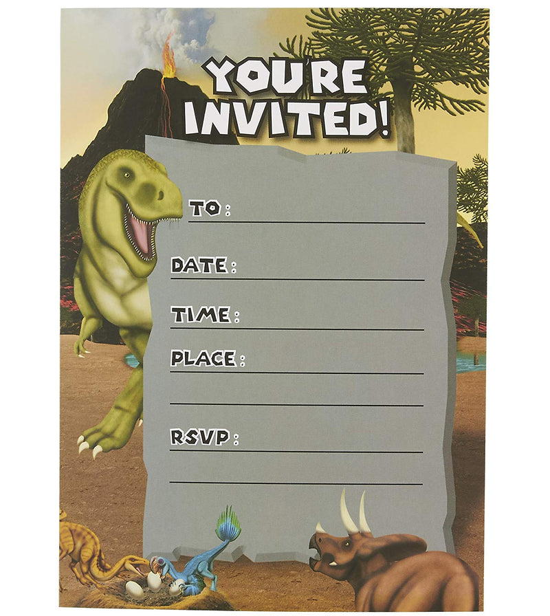 Dinosaur Invitation Cards - 24 Fill-in Invites with Envelopes for Kids Birthday and Theme Party, 5 x 7 Inches, Postcard Style
